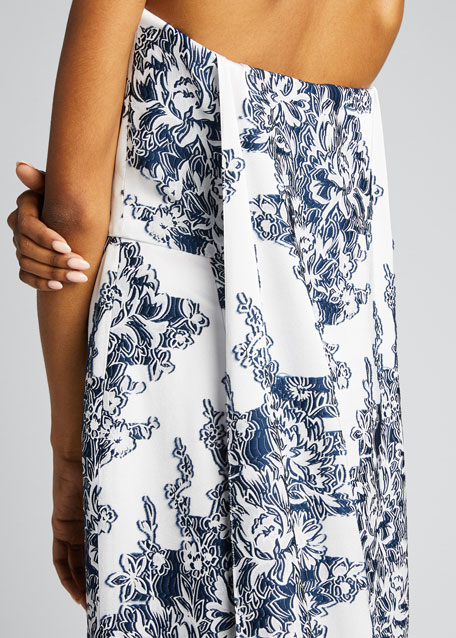 Floral Fil Coupe Strapless Column Gown