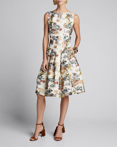 Floral Sleeveless Fit-&-Flare Seamed Dress