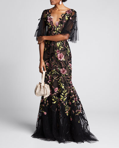 Ribbon Lace Plunging V-Neck Gown