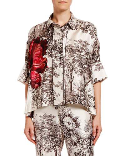 Tree Print w/ Flower Oversized Short-Sleeve Top
