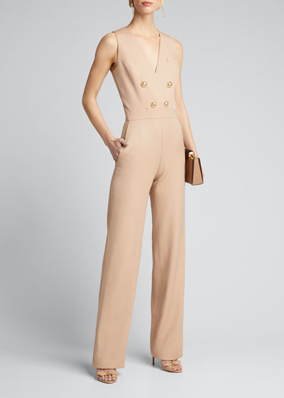 Button-Front Crepe Sleeveless Jumpsuit