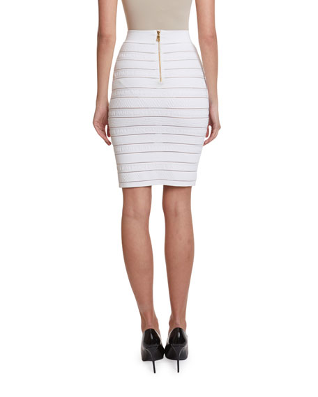 High-Waist Logo-Banded Pencil Skirt