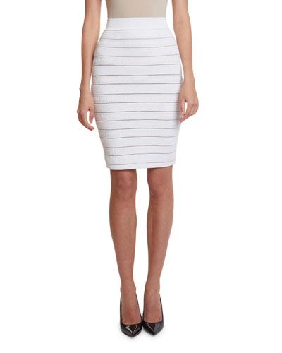 High-Waist Logo-Banded Pencil Skirt