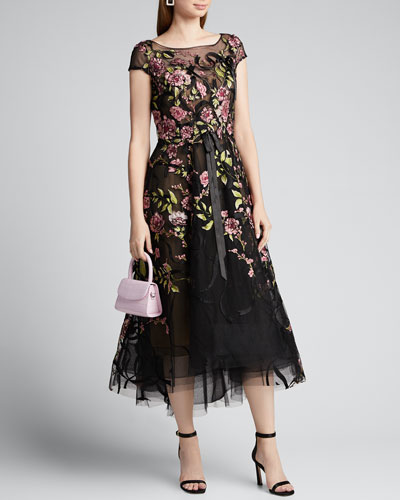 Floral-Embroidered Ribbon-Waist Tea Length Dress
