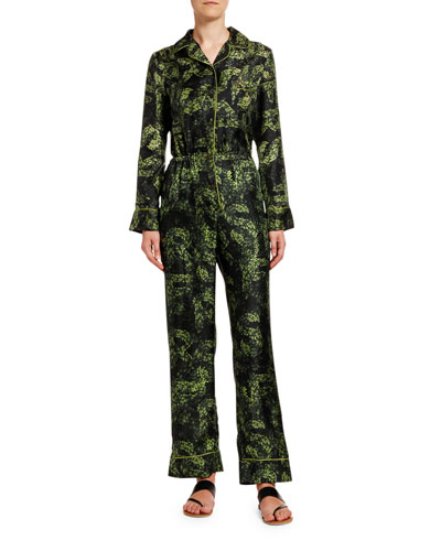 Jungle-Print Long-Sleeve Silk Jumpsuit w/ Lion Back Detail
