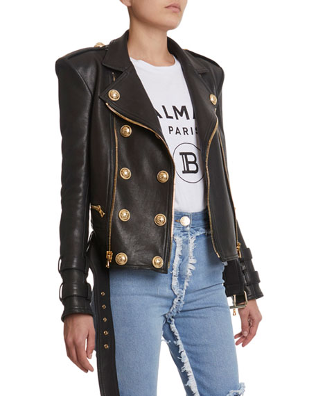 6-Button Leather Moto Jacket