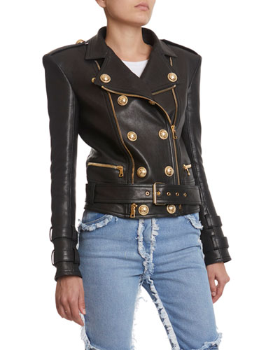 6-Button Leather Moto Jacket
