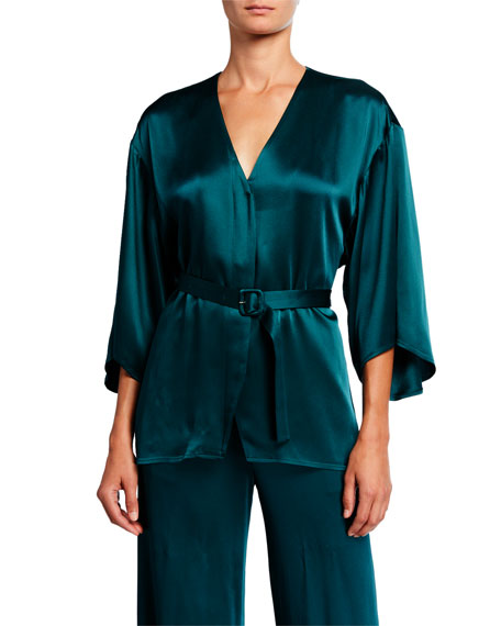 Image 1 of 1: Satin Belted Kimono Top, Emerald