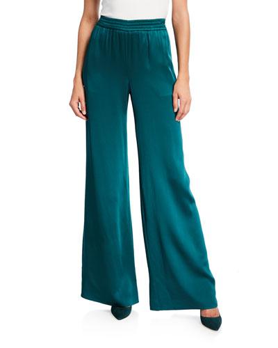 Satin Wide-Leg Track Pants  Emerald