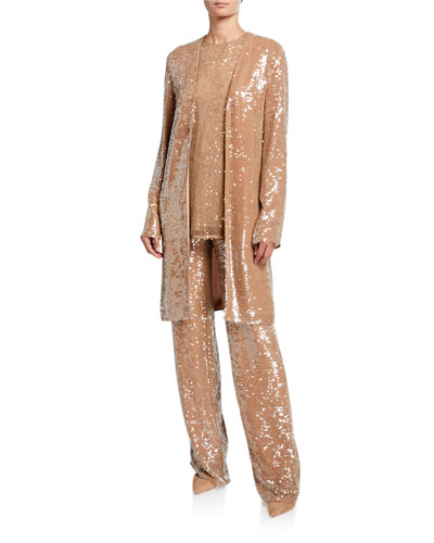 Sequined Jersey Duster Jacket  Camel