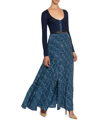Scoop-Neckline Floral Skirt Dress