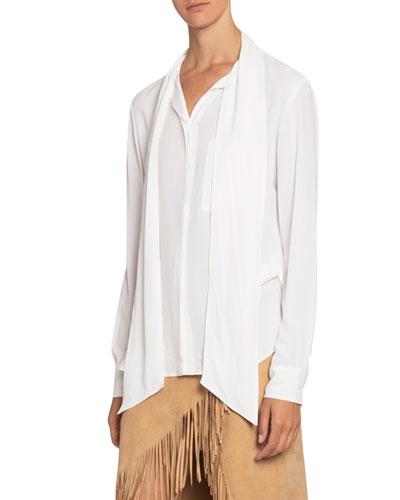 Silk Tie-Neck Button-Front Blouse
