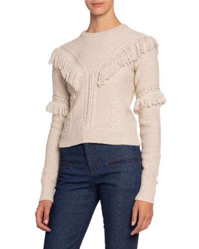 Cashmere Crewneck Fringe Sweater