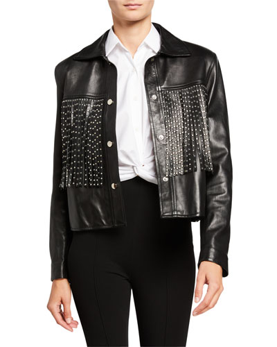 Leather Moto Jacket with Studded Fringe
