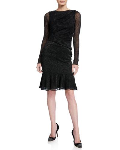 Shimmered Long-Sleeve Cocktail Dress