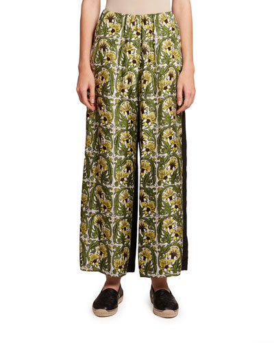 Floral Silk Wide-Leg Trousers