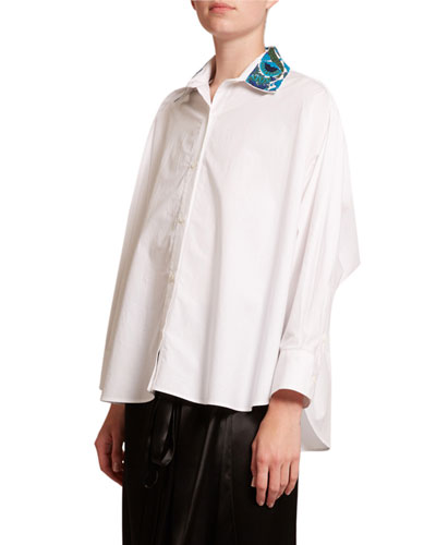 Embroidered-Collar Button-Front Shirt