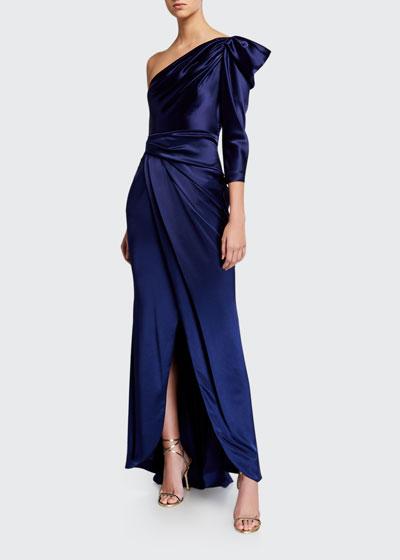 Crepe Satin One-Shoulder Gown