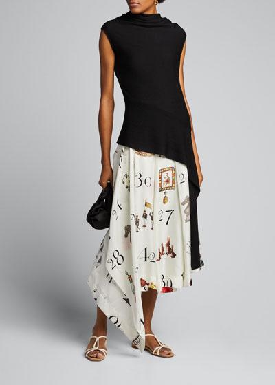 Number Print Pleated-Silk Midi Skirt