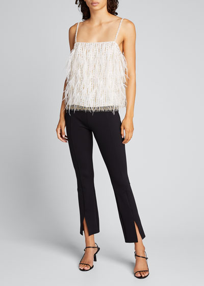 Feather-Embroidered Lace Camisole