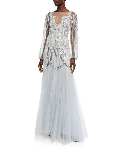 Feather-Embroidered Pleated Tulle Illusion Gown