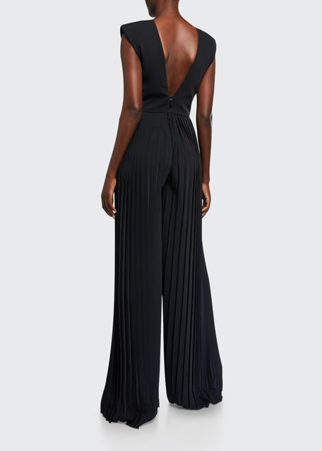 Crepe V-Neck Pleated-Leg Jumpsuit
