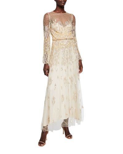 Embroidered Tulle Jewel Long-Sleeve Dress