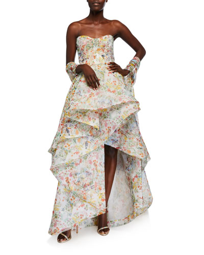 Paradise-Print Organza Strapless Gown