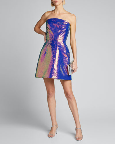 Iridescent Sequined Fit-&-Flare Party Dress