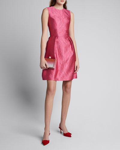 Palm Jacquard Taffeta Fit-and-Flare Dress