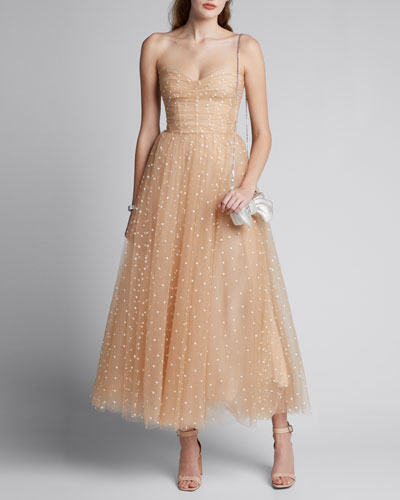 Polka Dot Tulle Strapless Tea-Length Dress