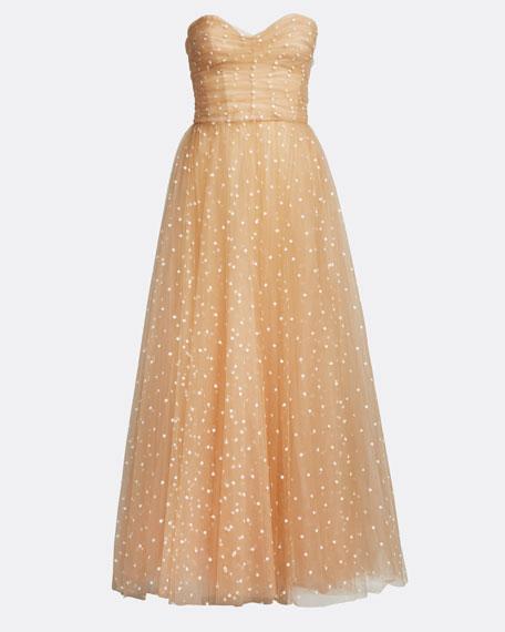 Polka Dot Tulle Strapless Tea-Length Dress