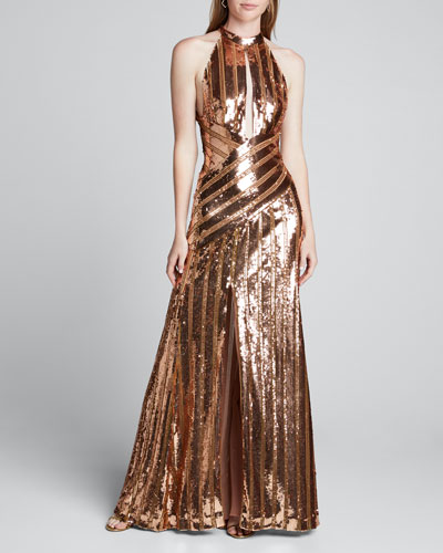 Mirror-Sequined Halter-Neck Gown