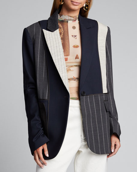 Inside Out Pinstriped Patchwork Blazer