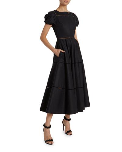 Seamed Poplin Puff-Sleeve Midi Dress
