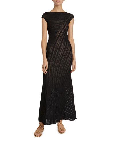 Lace-Striped Cap-Sleeve Midi Dress