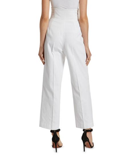 Cotton High-Rise Crop Trouser