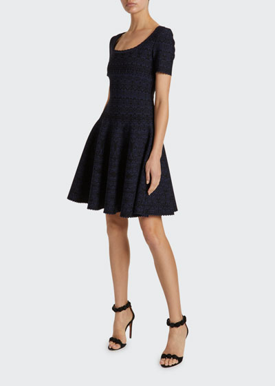 Campanelle Scalloped Jersey Scoop-Neck Dress
