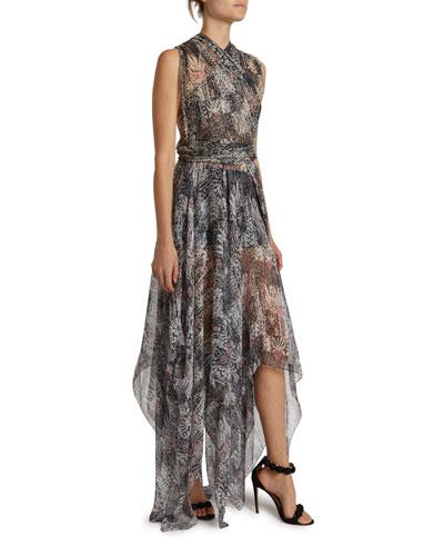 Floral Print Gauzy Halter-Neck Gown