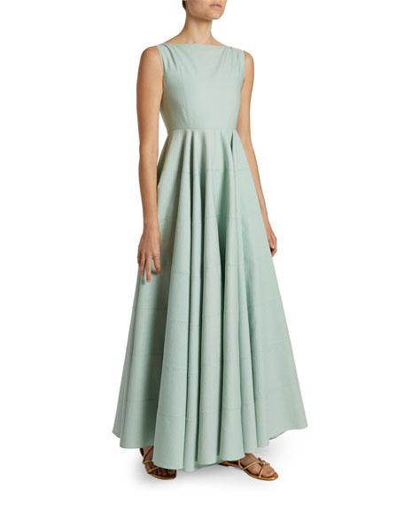 Textured Poplin Boat-Neck Dress