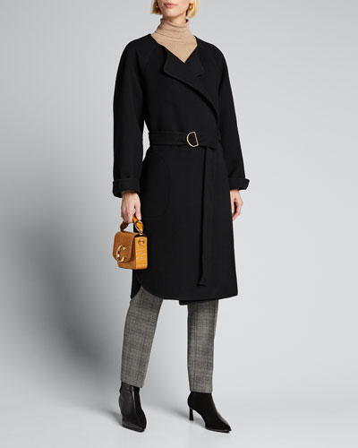 Wool Cashmere Belted Wrap Coat