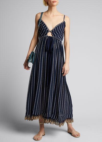 Striped Silk-Cotton V-Neck Dress