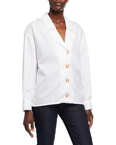 Blazer-Lapel Cameo-Button Poplin Shirt