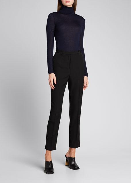 Wool Slim-Leg Cropped Trousers