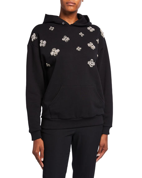 Floral-Embroidered Jeweled Logo-Back Hoodie