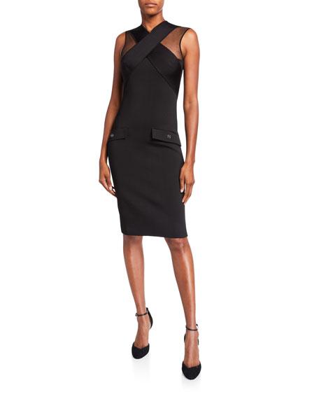 Crisscross-Front Tulle-Shoulder Bodycon Dress