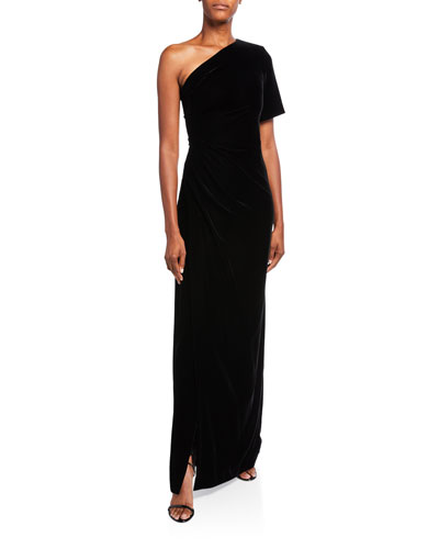 Velvet One-Shoulder Fitted Gown