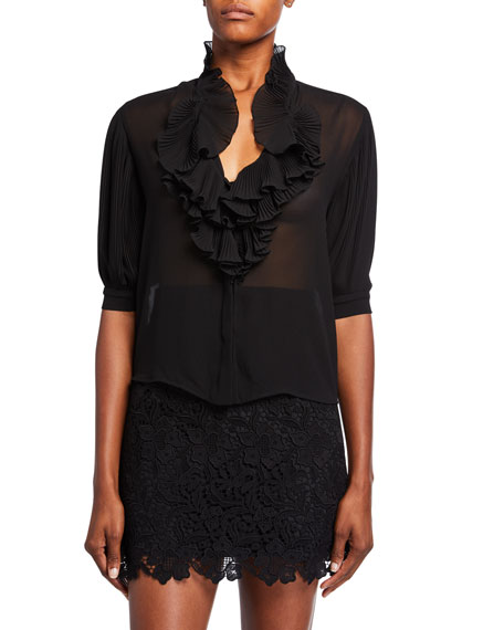 Plisse Trim Silk Puff-Sleeve Blouse