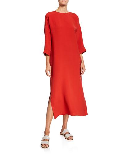 Silk Maxi Sheath Dress