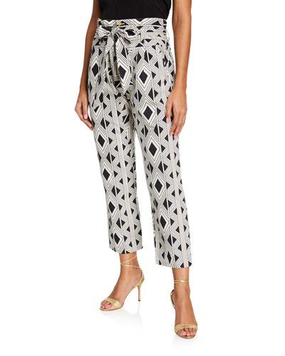 Portia Geometric Tie-Waist Pants